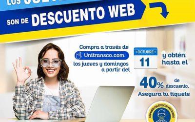 ¡En octubre los jueves y domingos son de descuento web en Unitransco!