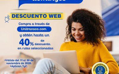 ¡En noviembre los miércoles y domingos son de descuento web en Unitransco!